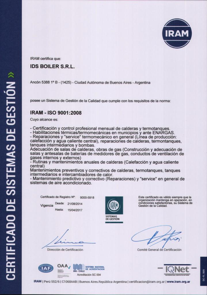 IDS BOILER - CERT. ISO 9001
